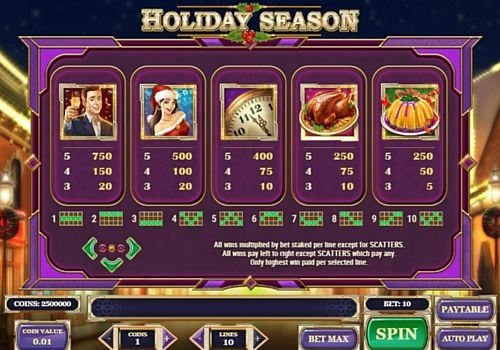 Выплаты за символы в аппарате Holiday Season