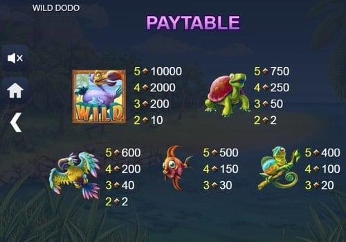 Выплаты за символы в аппарате Wild Dodo