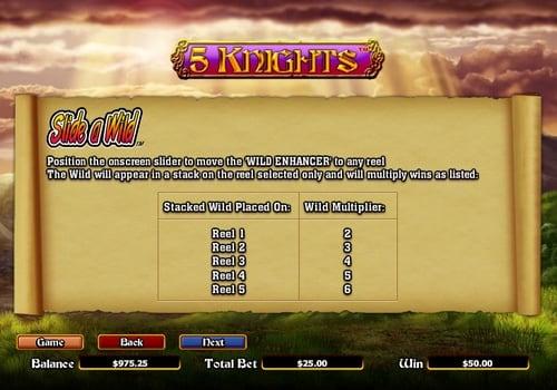 Бонусная функция с диким символом в автомате 5 Knights