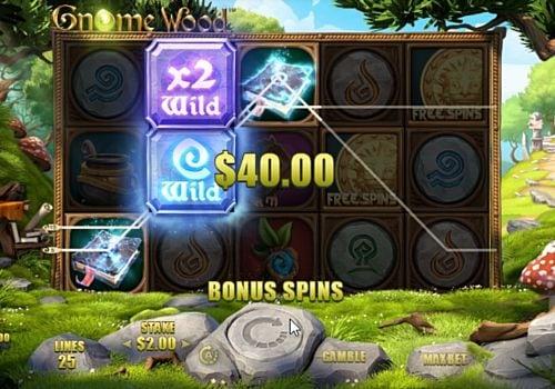 Выигрышная комбинация с дикими символами в автомате Gnome Wood