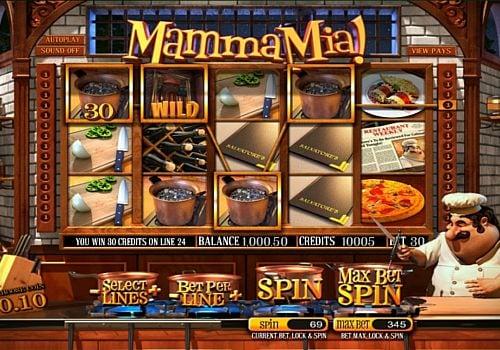 Выигрышная комбинация символов в автомате Mamma Mia