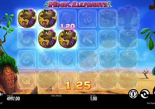 Выигрышная комбинация символов в автомате Pink Elephants