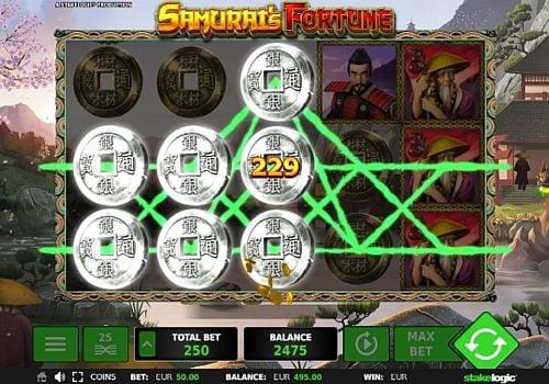 Выигрышная комбинация на линии в автомате Samurai's Fortune