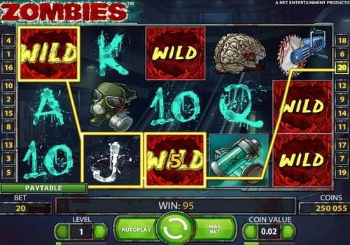 Выигрышная комбинация на линии в автомате Zombies