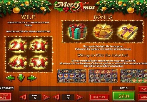 Выплаты за Wild в игре Merry Xmas