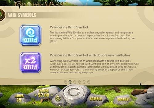 Описание знаков Wild в игровом аппарате Gnome Wood