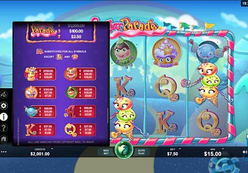 Выплаты за символы в игровом аппарате Sugar Parade