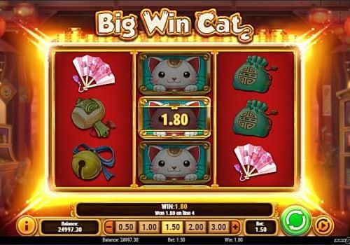 Призовая комбинация на линии в игровом автомате Big Win Cat