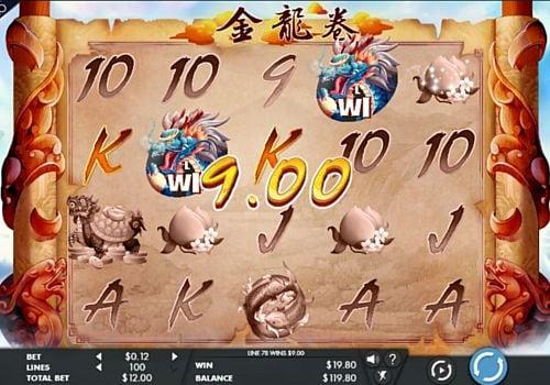 Призовая комбинация символов в игровом автомате Dragons Scroll