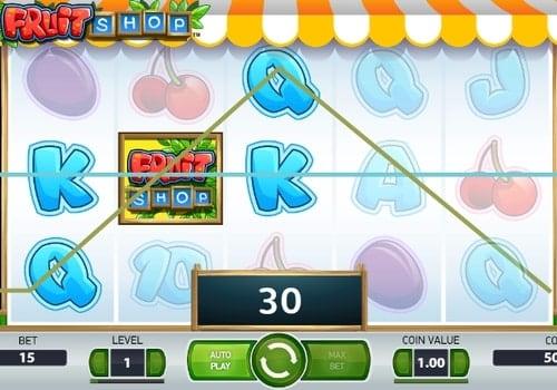 Комбинация символов в игровом автомате Fruit Shop