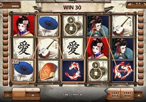 Призовая комбинация с диким знаком в игровом автомате Geisha