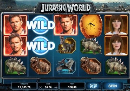 Призовая комбинация символов в игровом автомате Jurassic World