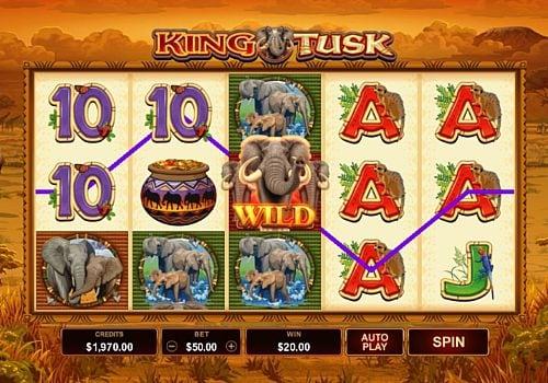 Призовая комбинация символов в игровом автомате King Tusk