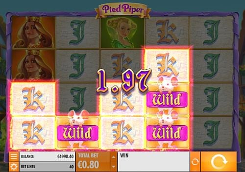 Выигрышная комбинация с диким символом в игровом автомате Pied Piper