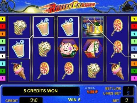Призовая комбинация символов в игровом автомате Roller Coaster