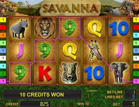 Призовая комбинация символов в игровом автомате Savanna