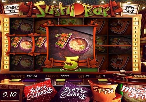 Призовая комбинация с диким знаком в игровом автомате Sushi Bar