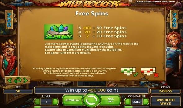 Фриспины в игровом автомате Wild Rockets