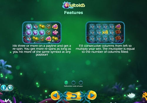 Бонусные функции в онлайн аппарате Fruitoids