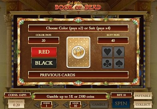 Риск игра в онлайн слоте Book of Dead