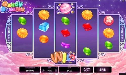 Комбинация с диким символом в онлайн слоте Candy Dreams