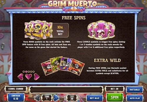 Фриспины и символ Wild в онлйн слоте Grim Muerto