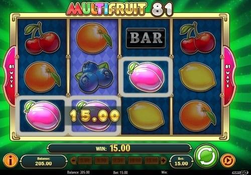 Выпадение комбинации символов в онлайн слоте Multifruit 81