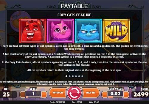 Описание игрового бонуса в слоте Copy Cats