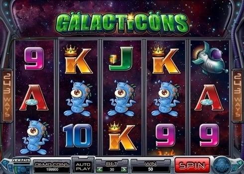 Выигрышная комбинация символов в слоте Galacticons