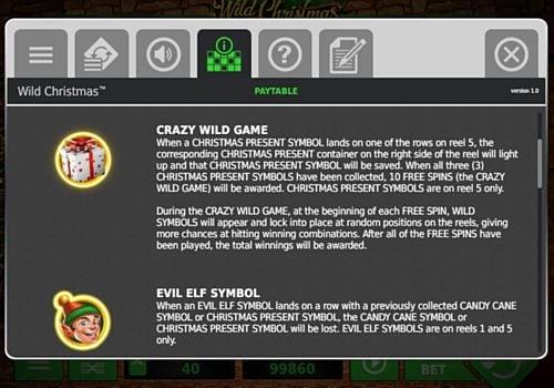 Описание игрового бонуса в слоте Wild Christmas